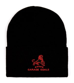 garage goals red beanie