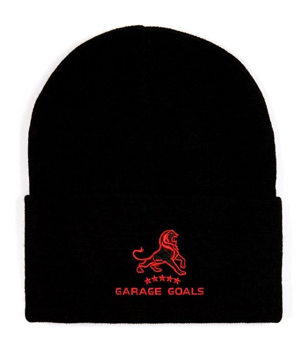 garage goals red beanie