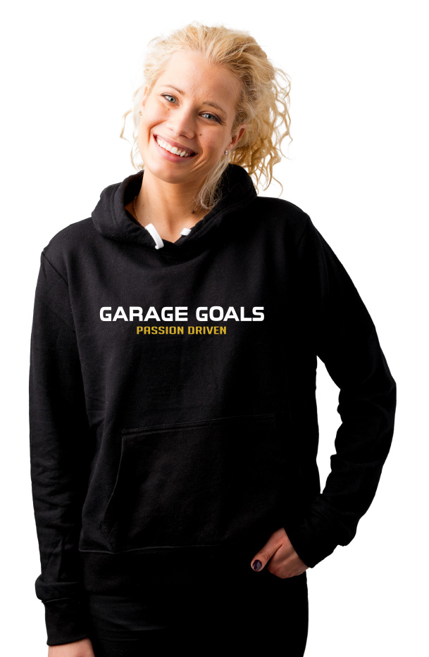 White Gold Garage Goals Passion Driven Women's Hoodie Sweatshirt