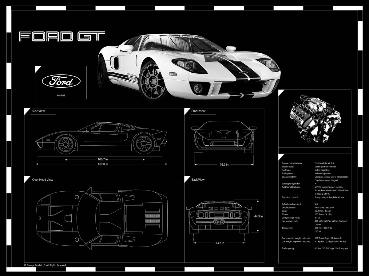 Viper Gts For Sale >> Engraved Car Blueprint on Sale at Garage Goals Official ...