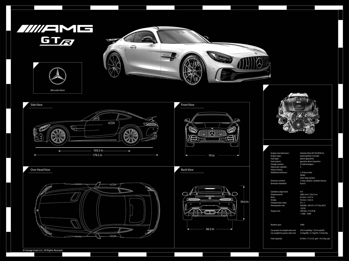 Engraved Car Blueprint On Sale At Garage Goals Official