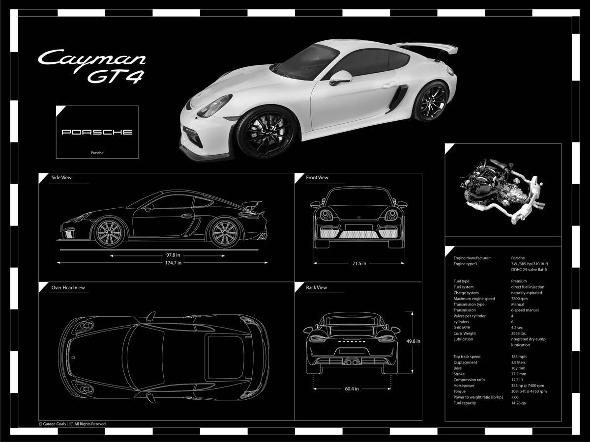 Engraved blueprints garage goals porsche gt malvernweather Choice Image