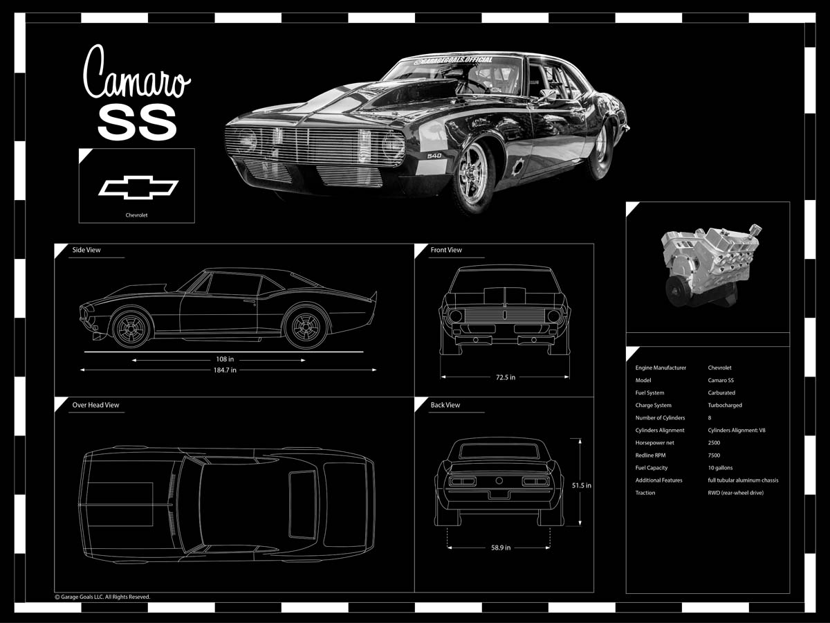 Engraved Car Blueprint on Sale at Garage Goals Official | Custom Car Art